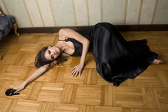 Women  lying on the floor Stock Image