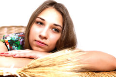 Women lying on the wicker table Stock Photo