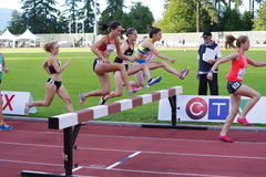 Women 3000m Steeple-Chase. During 2016 Harry Jerome International Track competition in Burnaby, BC, Canada. Picture taken June 17, 2016 Royalty Free Stock Photography