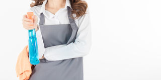 Women maid holding Foggy and fabric Royalty Free Stock Photo