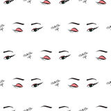 Women make up beauty fashion seamless pattern eyes, text, cosmetic. Contour vector illustration. Women make up beauty fashion seamless pattern eyes, text Royalty Free Stock Photo