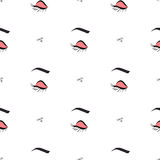 Women make up beauty fashion seamless pattern eyes, text, cosmetic. Contour vector illustration. Stock Photo