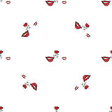 Women make up beauty fashion seamless pattern lips, text, cosmetic, lipstick. Contour vector illustration Stock Images