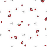 Women make up beauty fashion seamless pattern lips, text, cosmetic, lipstick. Contour vector illustration Royalty Free Stock Photography