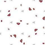 Women make up beauty fashion seamless pattern lips, text, cosmetic, lipstick. Contour vector illustration. Women make up beauty fashion seamless pattern lips Royalty Free Stock Photography