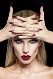 Women with make-up and manicure Royalty Free Stock Photography