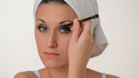 Women Make-up white towel on her head stock footage