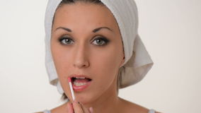 Women Make-up white towel on her head stock video footage