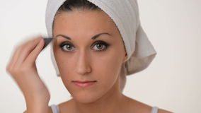 Women Make-up white towel on her head stock video