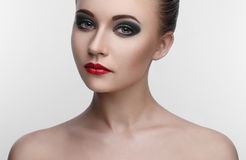 Women Makeup Beauty smoky eyes Royalty Free Stock Photos