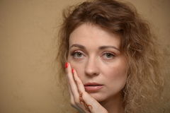 Women with makeup. Face of woman with makeup and hand with mehendy Royalty Free Stock Photo