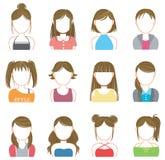 Women makeup and fashion icon collection set Stock Photos