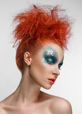 Women Makeup green Beauty red hair Stock Photo