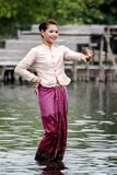 Thailand women performing dance on the water. Royalty Free Stock Images