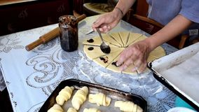 Women Making croissant`s. At homr, homemade food stock video footage