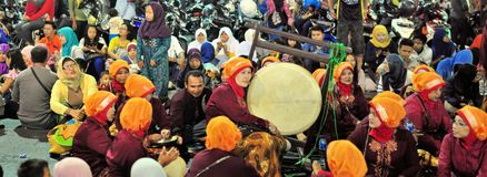 Women making music with drums, Yogyakarta city Stock Image