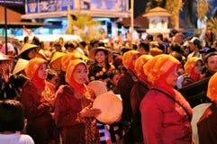 Women making music with drums, Yogyakarta city Royalty Free Stock Photo