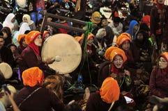 Women making music with drums, Yogyakarta city Stock Images