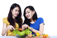 Women making salad together Royalty Free Stock Images