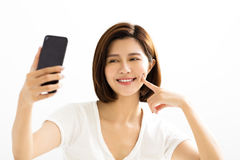 Women making selfie by  smart phone Stock Photography