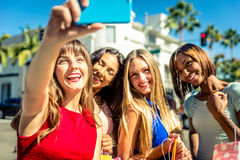 Women making shopping in Beverly hills. And having fun royalty free stock photography