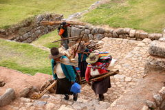 Women and man in Chinchero, Peru Stock Photo