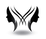 Women man human vector face shape vector illustrations clipping masks Royalty Free Stock Photos