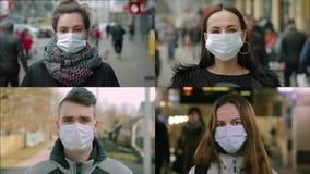 Women and man in masks. Multiscreen montage, split screen collage. Coronavirus, covid-2019 concept