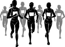 Women Marathon Silhouette. Group of women silhouette front view running a race Royalty Free Stock Photography