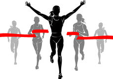 Women Marathon Winner. Group of women silhouette front view running a race Royalty Free Stock Photo