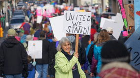 Women march on  Olympia 2017 Stock Photos