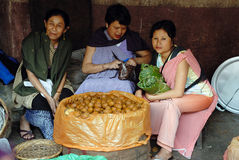 Women Market in India. Customers are buying fruits at the Barabazar of Shillong-India.In Shillong is that the Khasi girls manage all the shops and markets Royalty Free Stock Photos