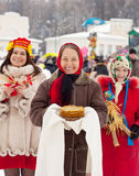 Women during Maslenitsa festival royalty free stock images