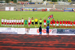 Women match. The anthems in the deaf world cup football match great britain vs poland played at eboli in italy royalty free stock photography