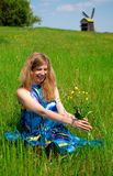 Women in meadow Royalty Free Stock Images