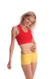 Women measures a waist Stock Photo