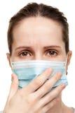 Women in medicine mask. Cold flu illness women in medicine healthcare mask Royalty Free Stock Photos