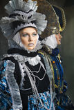 Women in  medieval costume. Beautiful young women in colorful stylized medieval costume Royalty Free Stock Photo