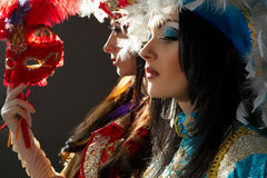 Women in  medieval costume. Beautiful young women in colorful stylized medieval costume Stock Photo
