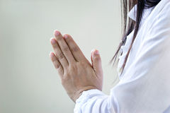 Women meditating of purity energy insight on pastel background Stock Images