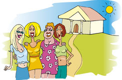 Women meeting. Illustration of smiling woman group at meeting Royalty Free Stock Photos