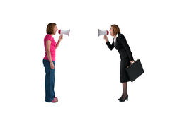 Women with megaphones shouting isolated. Businesswoman and woman shouting with megaphones isolated on white background Stock Images