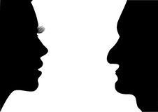Women and men. Illustration raster - face women and men on a white background Stock Image