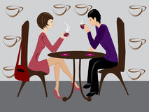 Women and men in coffee Royalty Free Stock Images