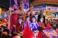 Women and men dressed as royalty, Yogyakarta city Stock Photos