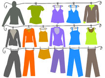 Women and men fashion colors clothes Royalty Free Stock Photography
