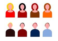 Women and Men Icon Set stock illustration