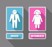 Women and men icons set colored Royalty Free Stock Image
