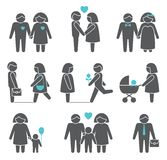 Women and men icons set. Women and men family figures icons set of parents children couple isolated vector illustration Stock Images