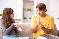 Woman and man learning sign language. The women and men learning sign language stock photo